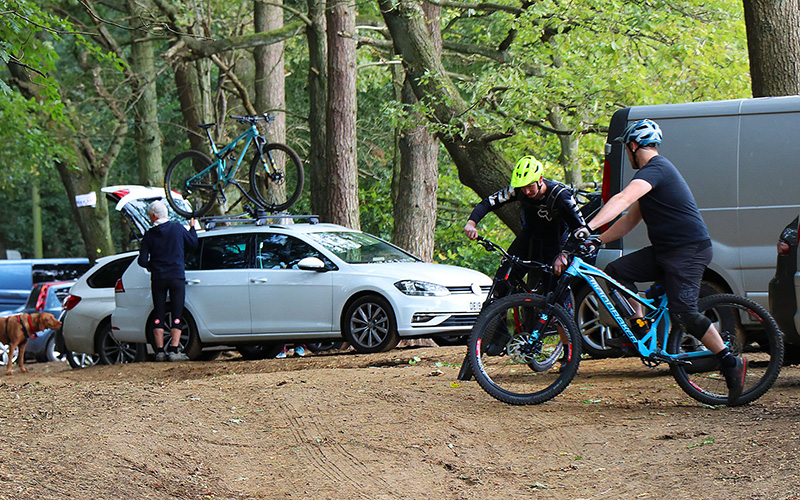 Mountain bikers at Aspley Woods
